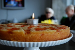 Apricot cake (with a birthday tea candle)