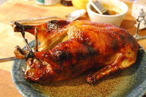 Whole spit-roasted duck